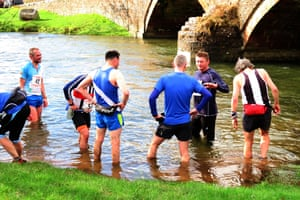 Fell runners revive in the beck after running Jarrett's Jaunt in March 2017.
