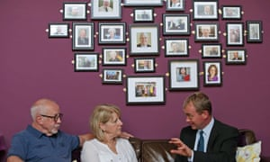 Tim Farron (right) with Colin and Wendy Parry during a visit to the Tim Parry & Johnathan Ball Foundation for Peace.
