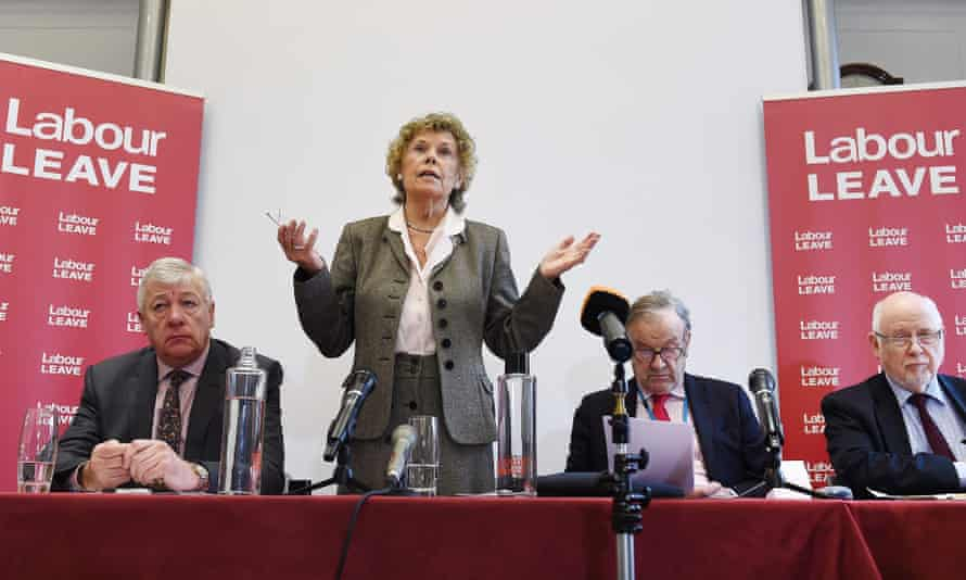 Kate Hoey MP, Graham Stringer MP, John Mills and Kelvin Hopkins MP at the launch of the Labour Leave campaign.