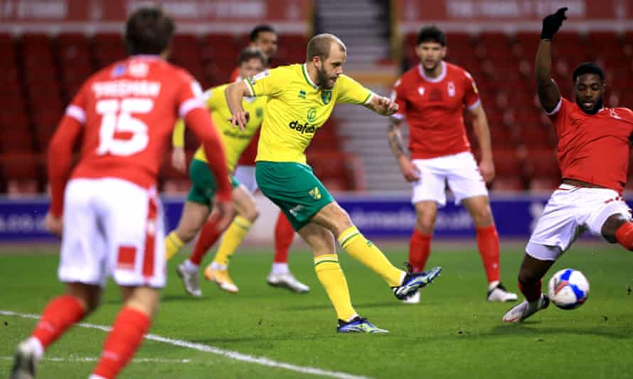 Norwich's Teemu Pukki scores in the 2-0 victory over Nottingham Forest.