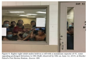 Photograph of 88 adult males held in a cell with a maximum capacity of 41.