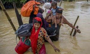 Rohingya Muslims who fled Myanmar at a refugee camp in Bangladesh.