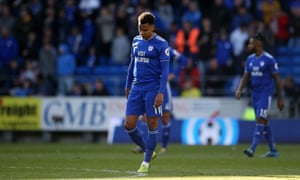 Josh Murphy looks dejected as Cardiff fall through the Premier League trap door.