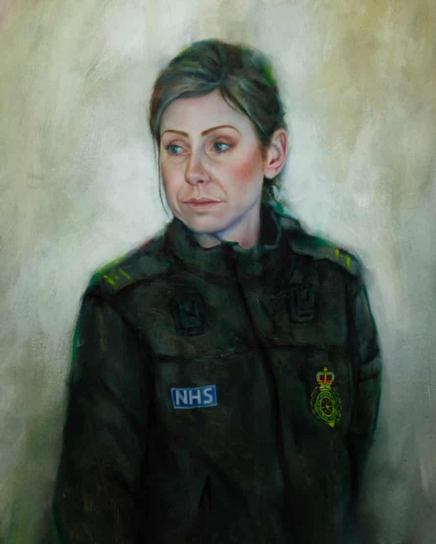 Adrian Hill's oil of his wife, Shelley Hill, who works for the Yorkshire ambulance service.