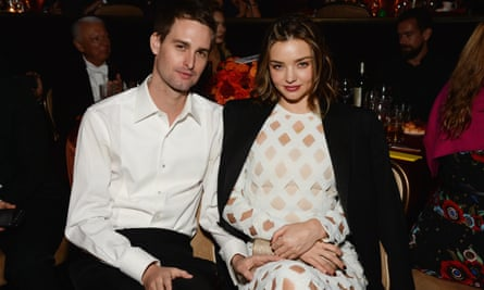 Evan Spiegel and model Miranda Kerr attend the 2016 pre-Grammy gala on 14 February 2016 in Beverly Hills, California.