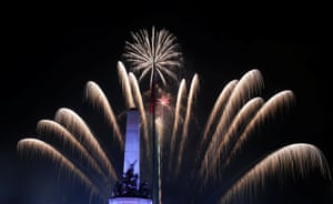 Fireworks explode behind the monument of national hero Jose Rizal, Manila, Philippines