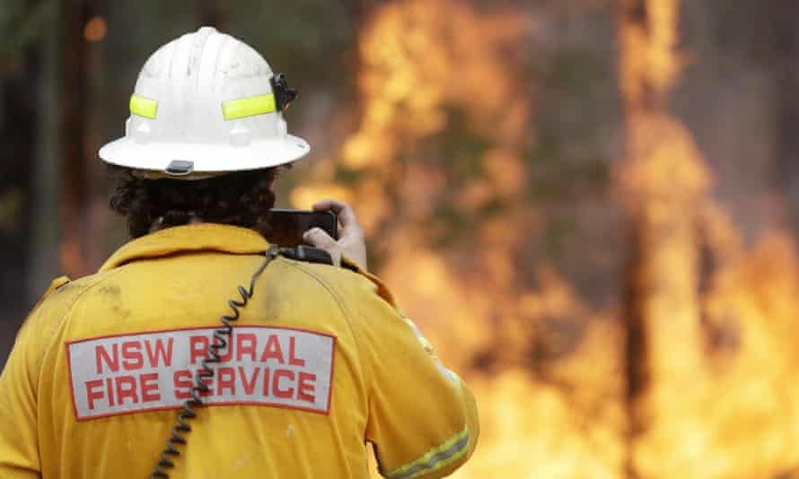 A firefighter at a controlled burn near Tomerong, NSW