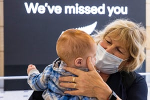 Dianne Wright hugs her grandson Mason Buckley for the first time at Sydney international airport.