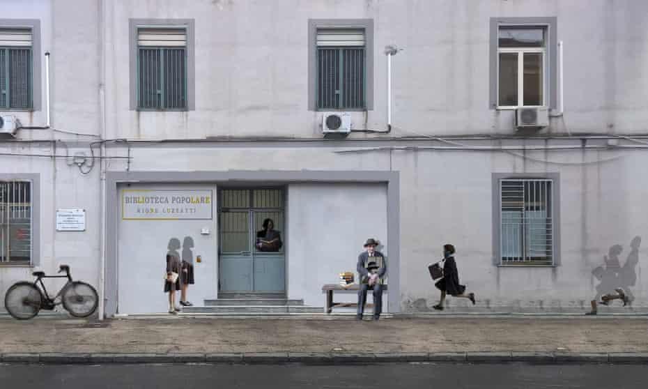 Castaldo Mural Design, Naples, Italy, depicting characters from Elena Ferrante's Neapolitan novels.