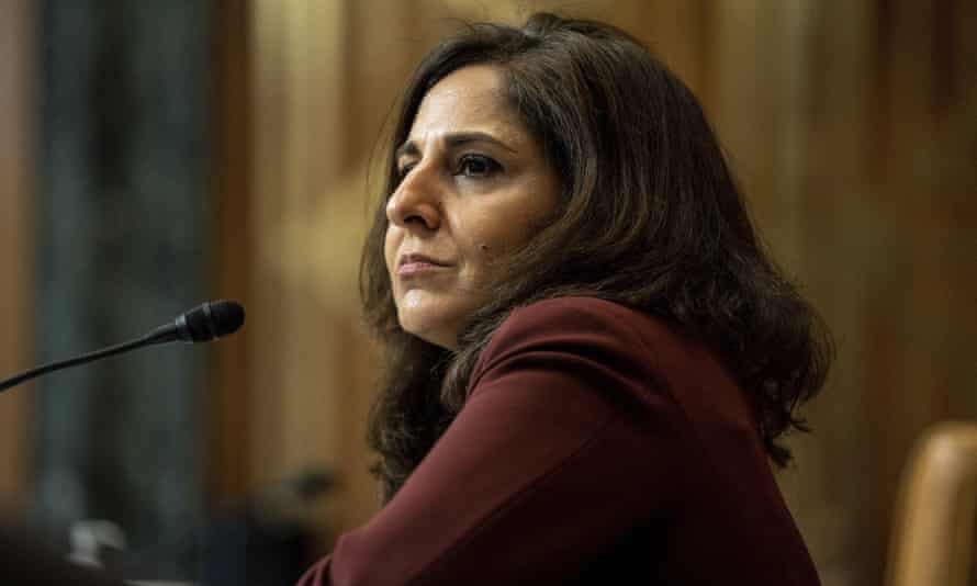 Neera Tanden appears before a Senate budget committee hearing in Washington DC 0n 10 February.