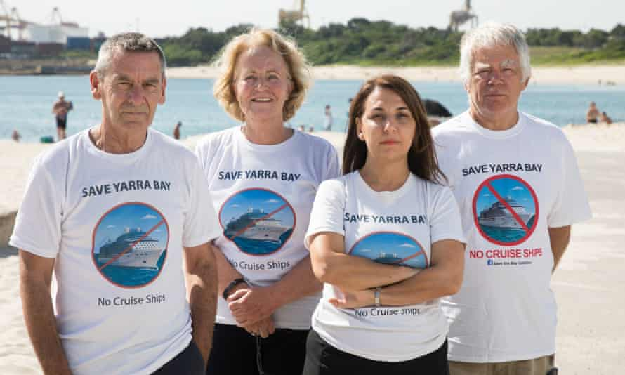 We'll fight them on the beach: (from left) Dallas Wilson, Christine Kitamura, Maria Poulos and Barry Wallace, all members of Save Yarra Bay.