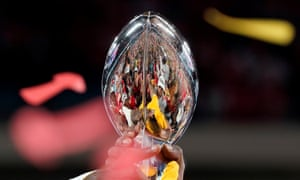 The Kansas City Chiefs celebrate with the Vince Lombardi trophy after their 31-20 victory over the San Francisco 49ers in Super Bowl LIV.