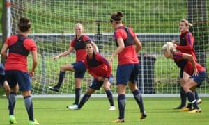 England's women's football team in training on Wednesday ahead of Thursday's Euro 2017 semi-final against Holland