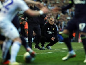 Marcelo Bielsa watches on during Leeds's play-off defeat to Derby.