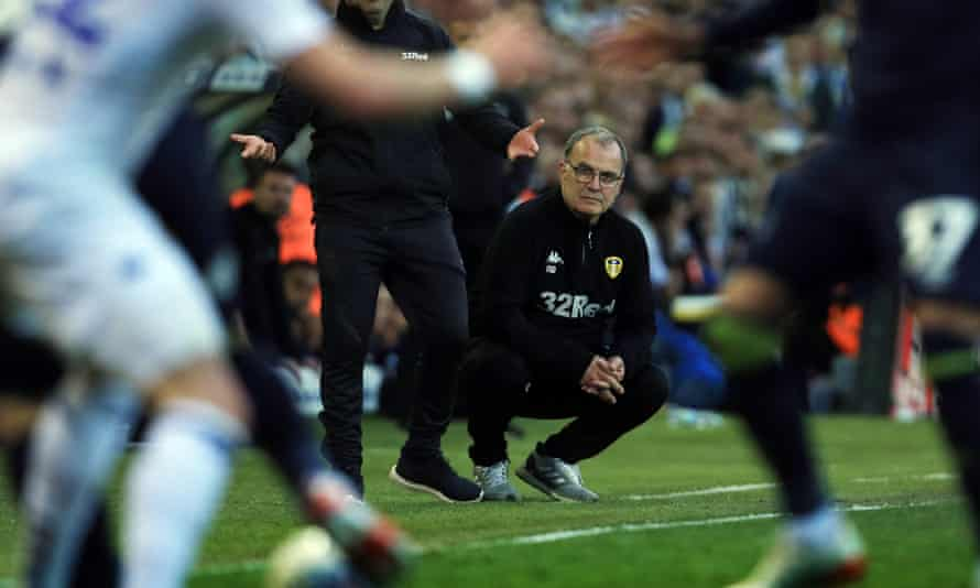 Leeds manager Marcelo Bielsa looks on during his team's play-off semi-final against last season.