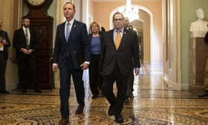 Adam Schiff,Jerrold Nadler House Intelligence Committee Chairman Adam Schiff, D-Calif., front left, and House Judiciary Committee Chairman, Rep. Jerrold Nadler, D-N.Y., and other House impeachment managers, walk to the Senate chamber.