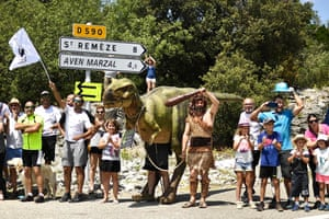 Stage 14 ,which went from Saint-Paul-Trois-Chateaux to Mende, gave those that run the Aven Marzal cave in the Ardeche department a chance to publicise their tourist attraction