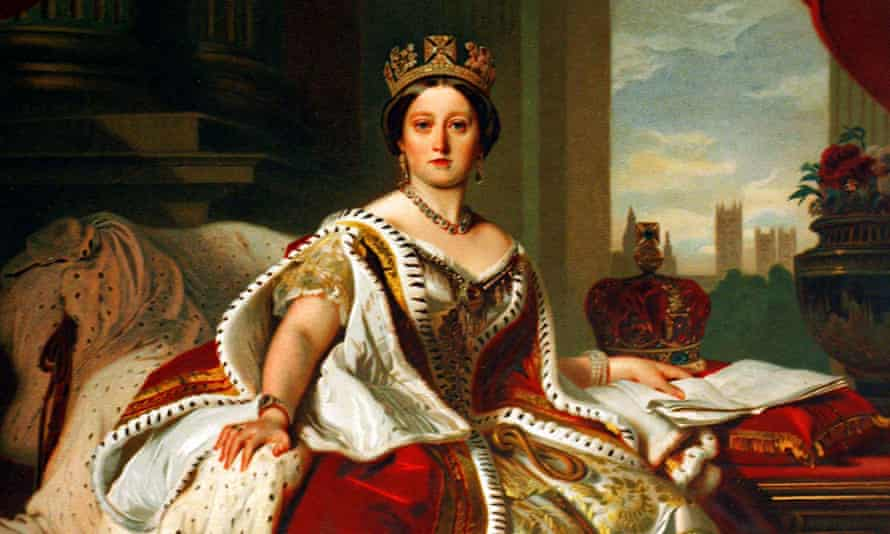 Oil on canvas portrait of a young Queen Victoria.