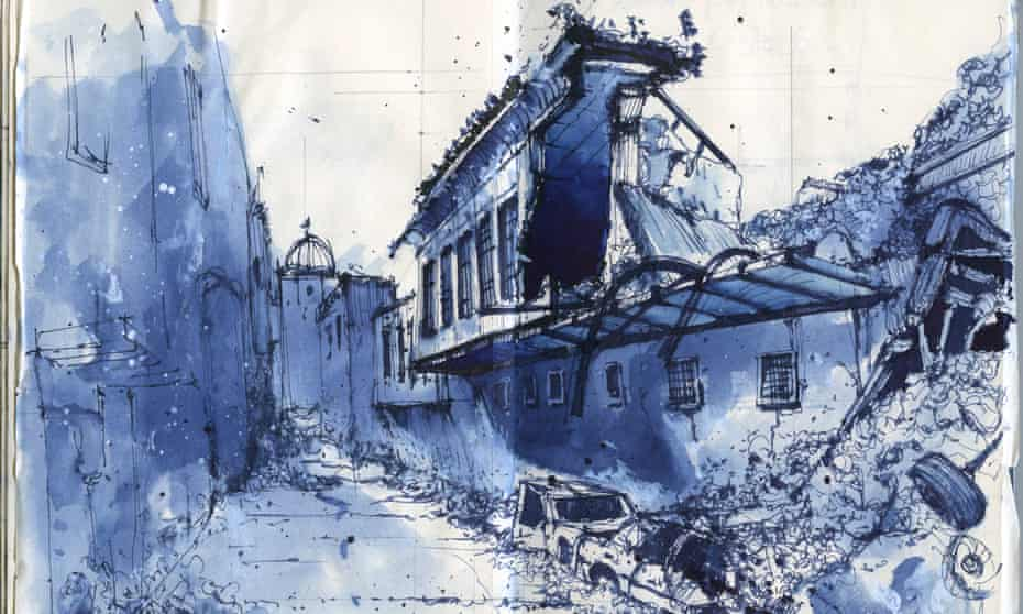 A water colour of the ruins of Mosul.