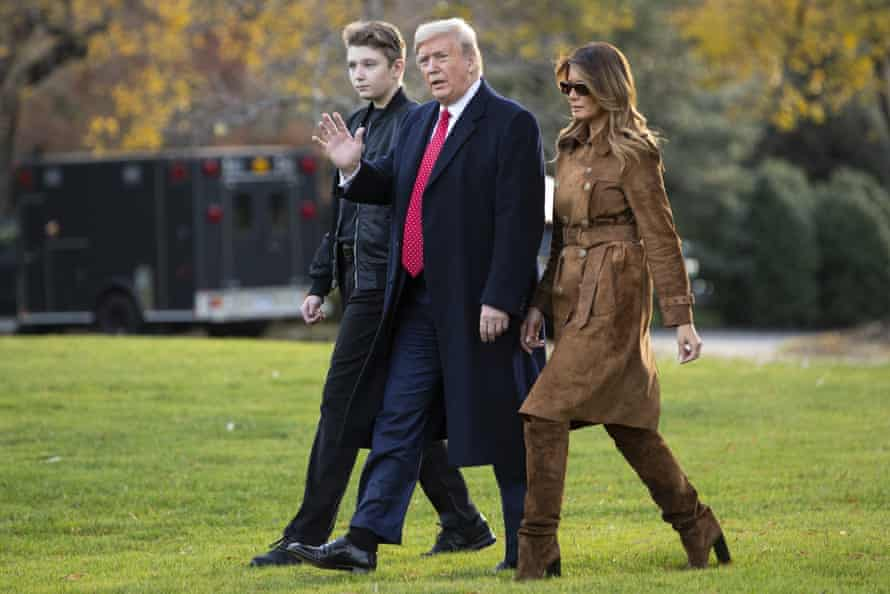 Trump with his son Barron and first lady Melania on Tuesday. Republicans in Congress are expected to remain unified in opposition to impeachment.