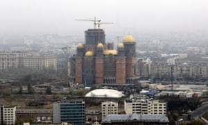 An aerial view of the Romanian People's Salvation Cathedral in Bucharest