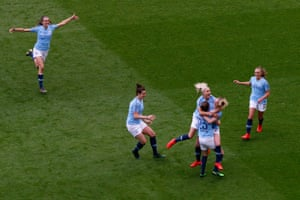 City celebrate the first goal scored by Keira Walsh.