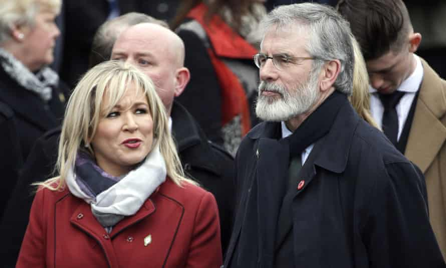Michelle O'Neill and Gerry Adams at the funeral of Martin McGuinness last week.