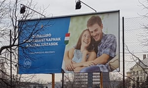 The 'happy couple' image used in the Hungarian government's family values campaign.