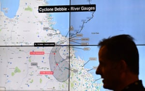 The crisis coordination centre in Canberra on Wednesday, where the cyclone relief effort is being run