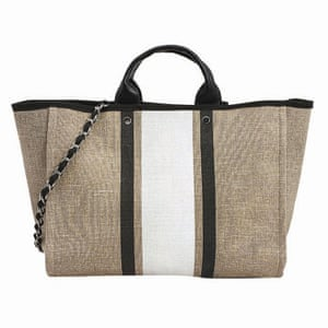 beige, black and white striped bag, Next