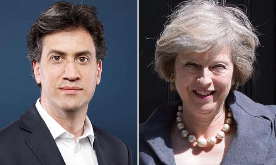 Ed Miliband and Theresa May.