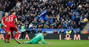 Leicester City's Wilfred Ndidi scores a goal that is ruled out for offside during the 1-1 draw against Swansea at the King Power stadium.