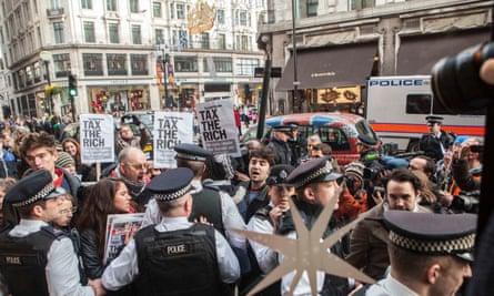 UK Uncut protest in London, 2012.