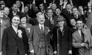 Clement Attlee celebrates Labour's 1945 election victory