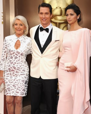 Matthew McConaughey at the Oscars in 2014 with his wife Camila Alves and his mother, Kay.