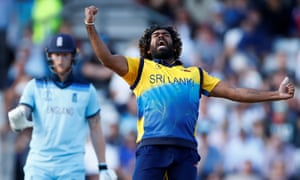 Sri Lanka's Lasith Malinga celebrates taking the wicket of England's Jos Buttler as Sri Lanka stunned the World Cup hosts at Headingley.