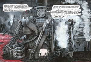 Steam and iron … how modern industry appears in Rowson's work.