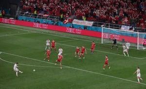 Denmark's Andreas Christensen scores their third goal.