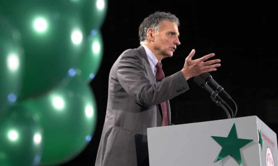 Ralph Nader speaks at Boston University in November 2000.