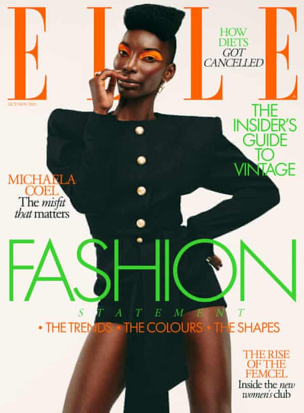 Michaela Coel on the cover of October's issue of Elle UK magazine.