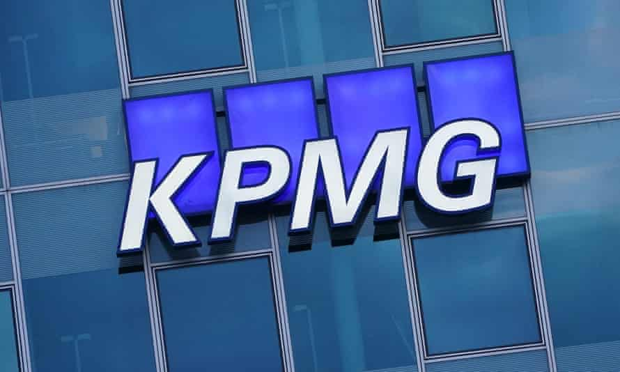 The logo of KPMG on an office building