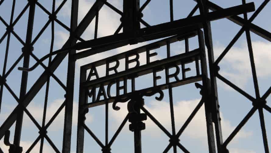 The entrance gate of the former Nazi concentration camp in Dachau, near Munich