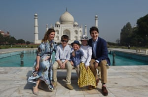 The prime minister of Canada,Justin Trudeau, his wife, Sophie Gregoire, and their children pose in February 2018