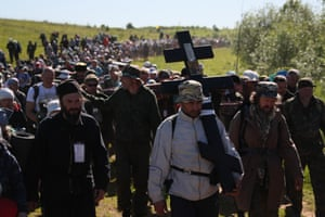 Pilgrims take part in the Velikoretsky procession, one of the largest in Russia, annually held from 3-8 June to venerate the icon of St Nicholas discovered, as legend has it, on the bank of the Velikaya River in the 14th century. The route, from Kirov to the village of Velikoretskoye and back measures a total of 150km (93 miles) and attracts thousands of believers.