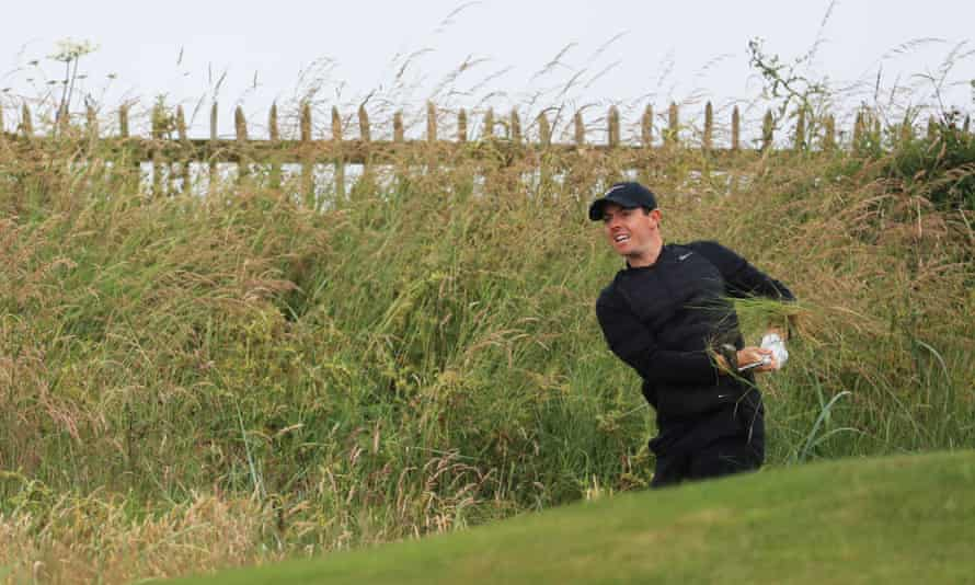 Rory McIlroy hacks out of the rough