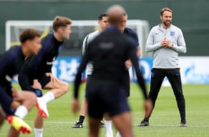 Gareth Southgate looks on during an England training session on Monday.