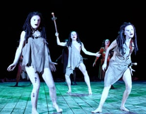 Peter Hall's staging of The Bacchai at the Olivier theatre, London, in 2002.