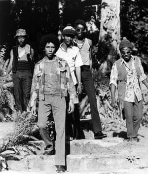 From left, Bunny Wailer, Bob Marley, Carlton Barrett, Peter Tosh, Aston 'Family Man' Barrett