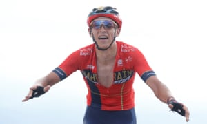 Bahrain-Merida rider Dylan Teuns of Belgium wins the stage.