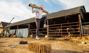 Dai Greene has to find imaginative ways to keep in shape on his partner's family farm in Nottinghamshire.